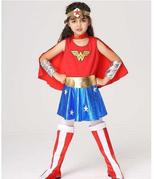 萬聖節服飾,萬聖節裝扮,聖誕舞會,兒童變裝服-超人服-兒童變裝-神力女超人服裝