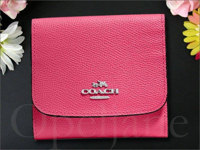 原廠全新 Coach 粉紅色桃紅色藍色 防刮真皮 零錢包 證件夾信用卡片夾名片夾 悠遊卡車票夾 小皮夾中夾短夾 可放紙鈔