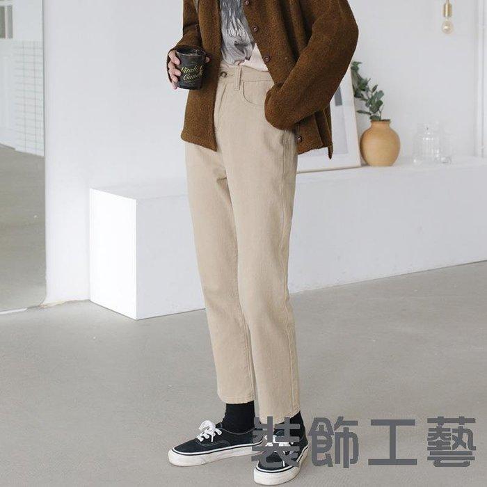 韓國新款休閑卡其色牛仔褲ins上火純色修身直筒百搭牛仔褲女