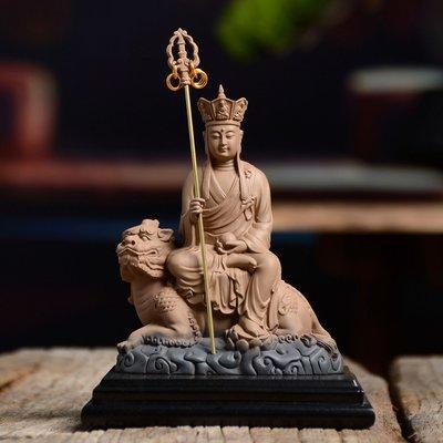 傳藝工坊 - 『 諦聽地藏』 地藏王 地藏菩薩 佛教藝術 收藏 大願  陶土 陶塑 含木底座 小佛像