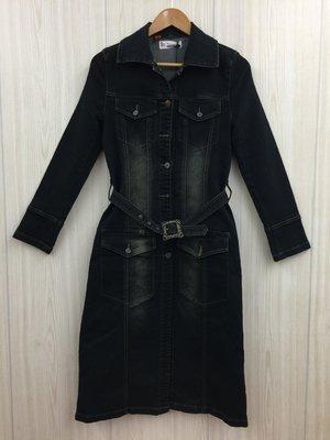 【愛莎&嵐】D2 BLUE JEANS 黑色雙口袋腰帶牛仔洋裝 / M (全新有伸縮) 1080102