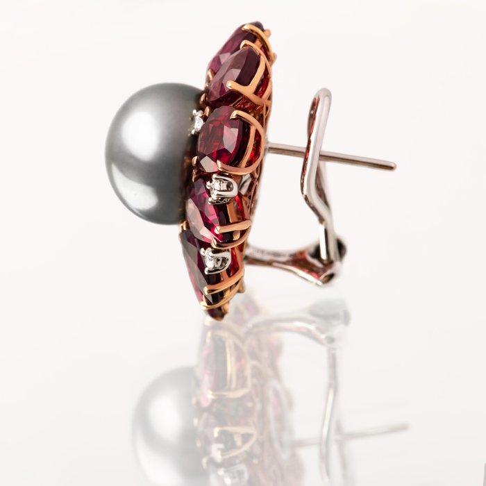 【JHT金宏總珠寶/GIA鑽石專賣】天然黑珍珠石榴石耳環/材質:18K(KBP08-6961)