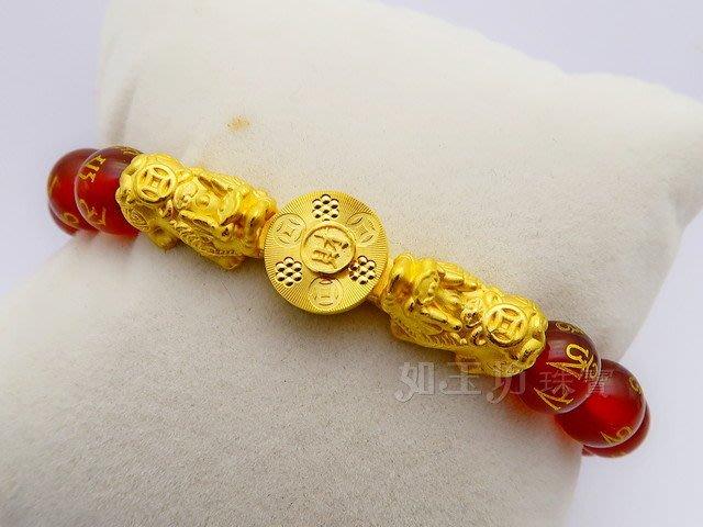 如玉坊珠寶   硬金CNC時來運轉雙貔貅紅瑪瑙手鍊  黃金手鍊  ZE&