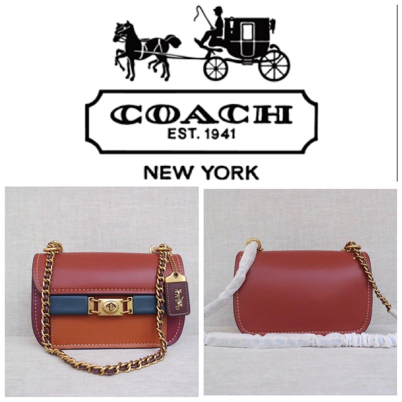 小鹿美國精品代購 COACH 78489 新款女士Troupe系列鏈條包 拼色旋扣式單肩斜挎包 附購證