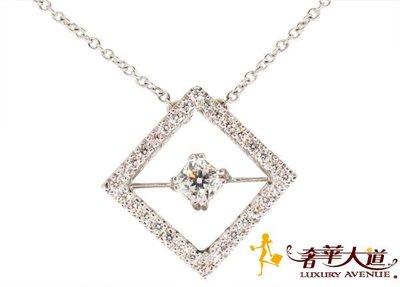 *奢華大道國際精品*【J0183】HEARTS ON FIRE 0.30ct 菱形鑽石項鍊