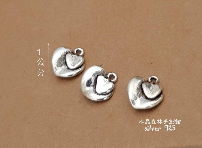 *☆ 水晶森林手創館*☆diy材料925純銀配件 桃心墜子~蠶絲/蠟線必備素材silver 925