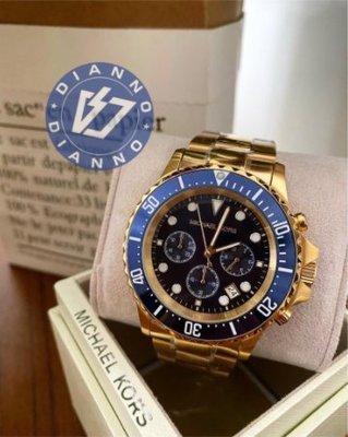 帝安諾-實體店面 Michael Kors 水鬼系列  三眼計時金色  不銹鋼錶帶腕錶 MK8267