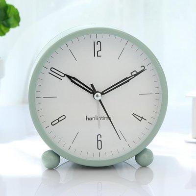 創意鬧鐘靜音夜光時鐘床頭時尚現代簡約金屬臥室小座鐘臺鐘學生鐘