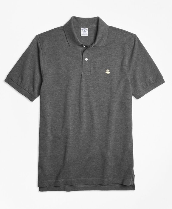 美國百分百【Brooks Brothers】布克兄弟 polo衫 上衣 短袖 素面網眼 男款 鐵灰色 修身 H951