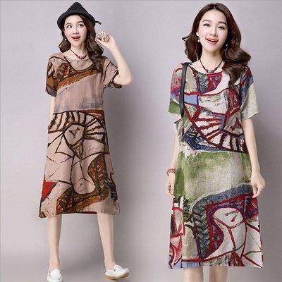 糖衣子輕鬆購【BV3280】韓版時尚文藝民族風印花度假中長裙棉麻連身裙