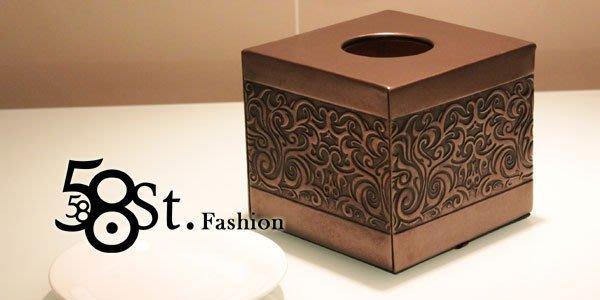 【58街】設計款式「玫瑰金花紋皮革製品面紙盒、紙巾盒,滾筒式紙巾用」。AF-092