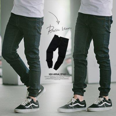 柒零年代【N9609J】亮色車線深色單寧素面束口褲牛仔褲(LE-KR8802)