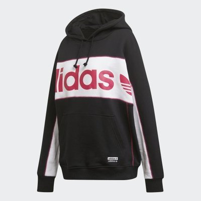 【吉米.tw】Adidas 三葉草黑粉帽T 女款 ORIGINALS LONG HOODIE FH7564 NOV