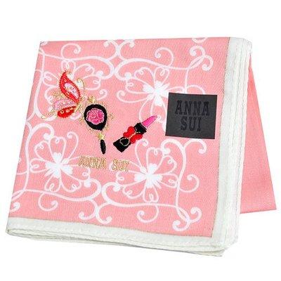 ANNA SUI 優雅玫瑰蝴蝶圖騰蝴蝶口紅字母LOGO刺繡帕領巾(粉紅色)