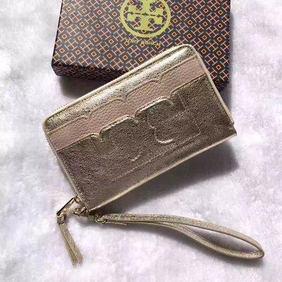 薇薇美國代購 TORYBURCH 最新女款 長夾 錢夾 錢包 皮夾 手包 零錢包 裸粉配金色