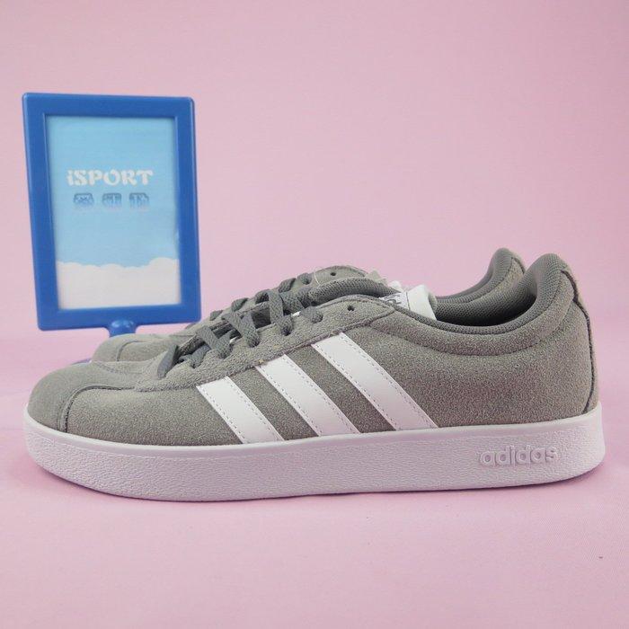 【iSport愛運動】 adidas VL COURT 2.0 麂皮 休閒鞋 正貨 B43807 男款 灰