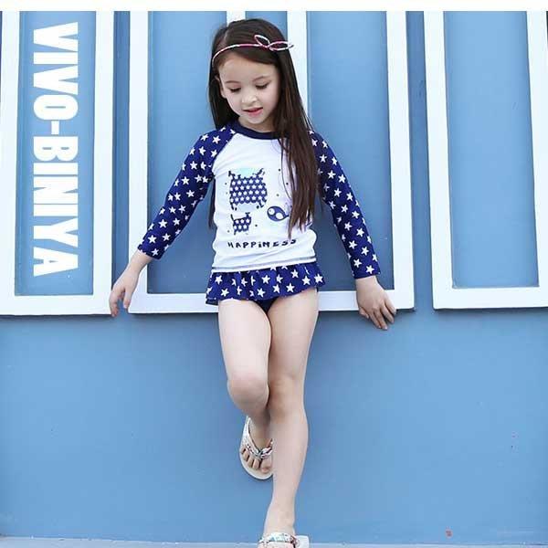 5Cgo【鴿樓】會員有優惠  528172036782 韓國星星款女童泳衣分體長袖防曬兒童泳裝寶寶游泳衣三件套裝分體泳衣
