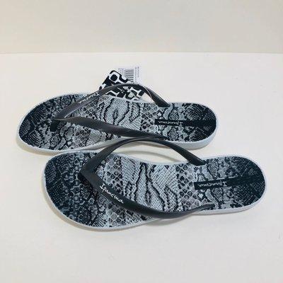 《現貨》Ipanema  女生夾腳拖鞋 巴西尺寸33/34,35(舒適鞋底 蠎蛇紋 人字夾腳平底拖鞋-銀色)