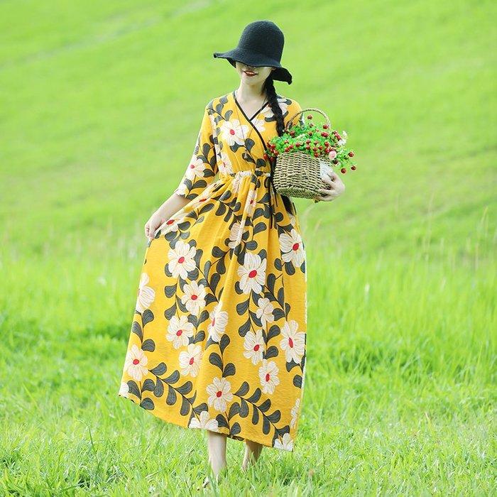 復古 連身裙 甜美 印花 長袖洋裝 實拍寬松顯瘦棉麻交領文藝撞色腰間系帶仙女裙旅行款連衣裙