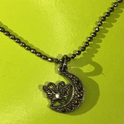 Anna Sui全新限量正品黑色水鑽月亮蝴蝶墜飾二段式可調式925純銀項鍊安娜蘇