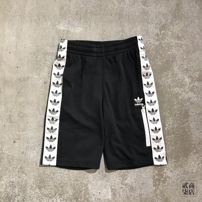(貳柒商店) adidas Originals Shorts Trefoil 男 黑色 三葉草 串標 短褲 DX4230