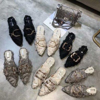 尖頭外穿網紅拖鞋女韓版ins平底包頭半拖鞋社會無后跟懶人穆勒鞋