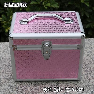 【優上】大中小號帶鎖化妝箱美甲紋繡足療工具箱粉色金錢紋24cm