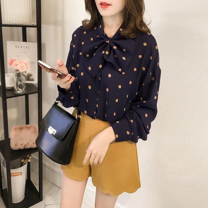 (XA-1619)圓波點點前排釦長版蝴蝶結領長袖襯衫女上衣服寬鬆顯瘦內搭衫藍色
