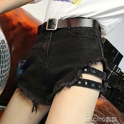 日和生活館 韓版CHIC黑色破洞牛仔短褲女夏季大碼高腰顯瘦輕熟女士學生熱褲潮S686