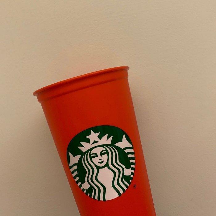 ♡歐日美加 LuLu代購♡ (缺貨)美加限定  STARBUCKS  星巴克 473ml(16oz) 可重複使用 環保杯 現貨 (紅色款)