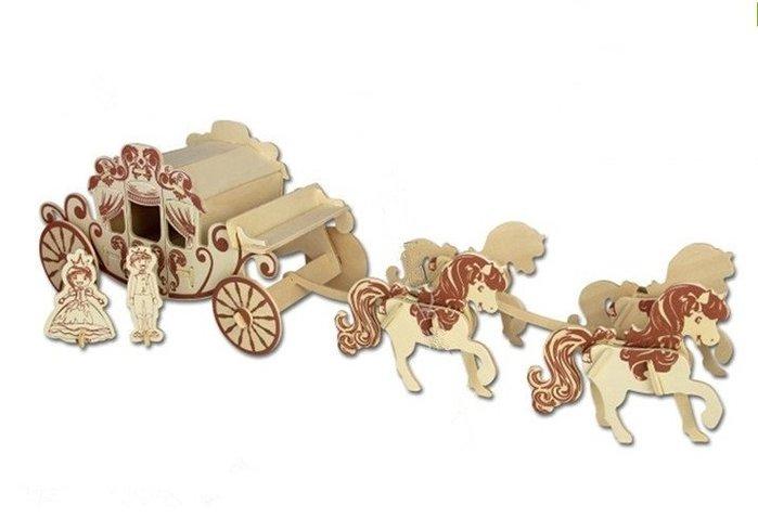 G-C007王子公主四联聯兒 童創意場景禮品木質玩具3D立體拼圖成人禮物王子公主