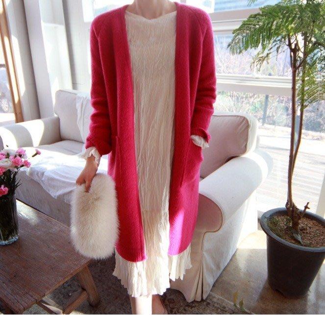 Gigi歐尼 韓國連線正韓 【 BH3761 】50%羊毛V領中長版毛衣外套(3色)