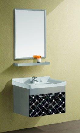FUO衛浴: 60公分 時尚新品 不鏽鋼材質 浴櫃陶瓷盆組 (含龍頭,鏡子)  T23 現貨2組!