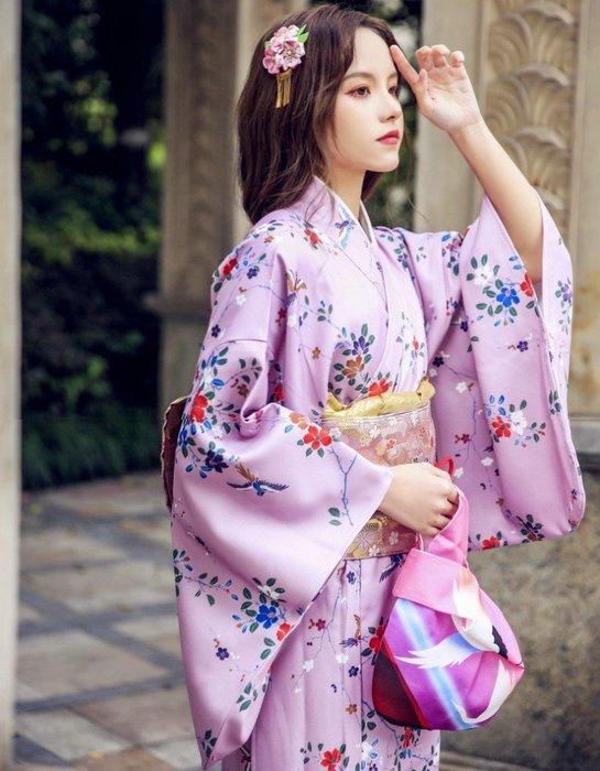 05日本正裝訪問和服浴衣四季 留袖 小紋 淺紫花鳥 旅拍文藝
