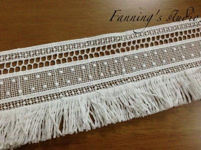 【芬妮卡Fanning服飾材料工坊】方格x流蘇蕾絲 1碼入