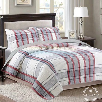 ✿ Mom&Me ✿AB條紋簡約風絎縫被 歐美床罩 床蓋 歐式大罩