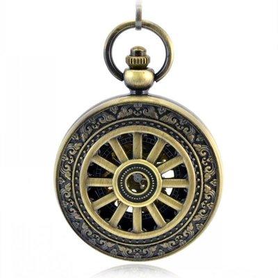 經典大車輪造型銅色 復古懷表 機械懷表 男女士學生老人表