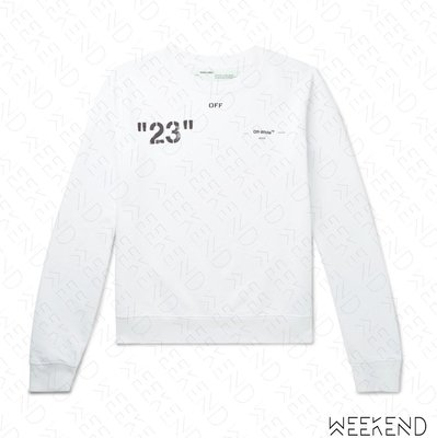 【WEEKEND】 OFF WHITE Quote Modern Office 限量 長袖 上衣 衛衣 白色 19春夏