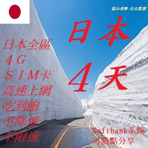 日本 4天/4日 吃到飽 不降速 不限速 上網 4G SIM 網卡 wifi (附卡針) 全區 插卡即用 免開通