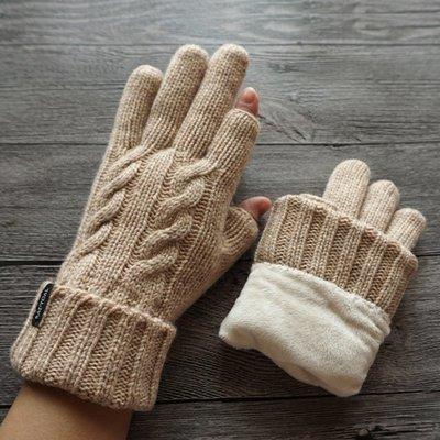 新品上市#秋冬男女情侶款羊毛毛線雙層加厚加絨半指觸屏露兩指手套