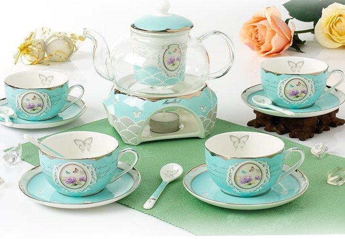 粉紅玫瑰精品屋~創意15頭禮品陶瓷鍍金花茶具 結婚茶具陶瓷套裝~現貨+預購