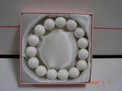 千年情***A貨硨榘手珠(14mm)15粒***佛教七寶之一白淨完美
