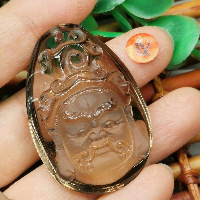 黃財神  高檔天然 茶水晶 項鍊墜 雕工精緻  ◎結緣價1880◎二姐的店W265-4
