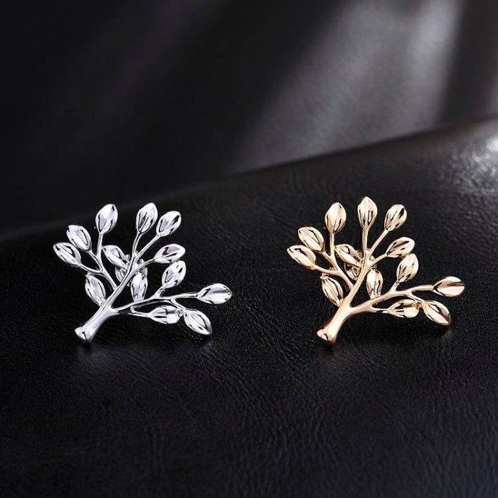 正韓復古樹葉胸針小領針男簡約西裝胸花襯衫領扣領花時尚徽章配飾