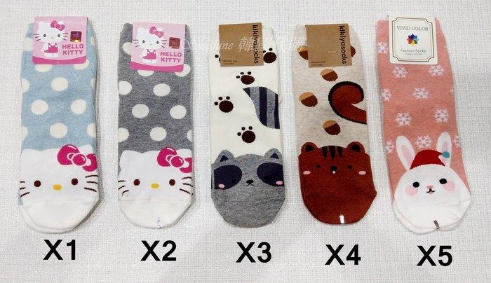 現貨 韓國 Hello Kitty 凱蒂貓 松鼠 兔子 圓點 點點 雪花 中統襪 襪子