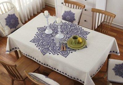 MSJ 北歐棉麻餐桌巾 桌布 居家家飾 餐廳 咖啡廳 背景布 拍攝道具 加厚亞麻款 宮廷青花