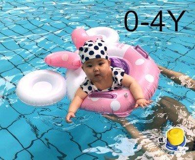 充氣兒童游泳圈寶寶加厚蝴蝶結卡通游泳小...