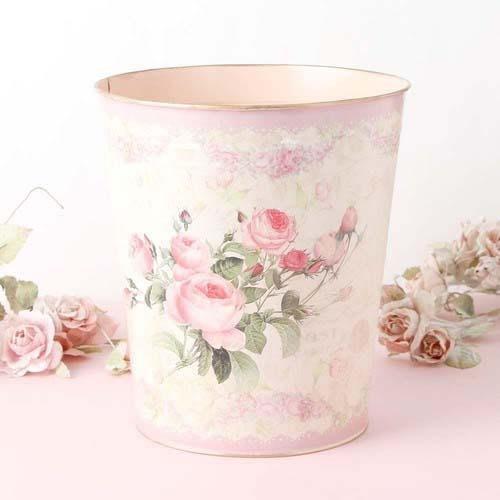 ~~凡爾賽生活精品~~全新日本進口玫瑰花鐵製造型圓形垃圾桶.收納置物筒