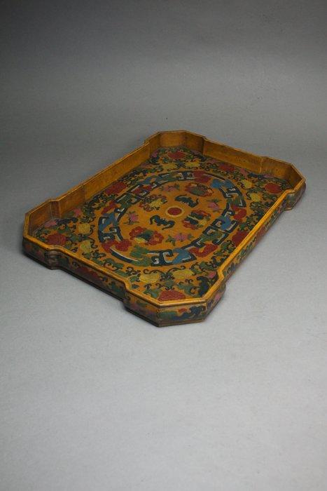 悅年堂 --- 木胎漆彩 蝠捧壽紋盤 果盤