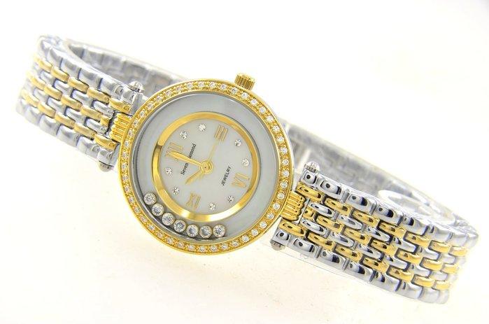 (六四三精品)Seven Diamond錶徑3.0公分.外框爪鑲晶鑽.滑鑽層.珍珠母貝面盤.珠寶精準錶.中金色